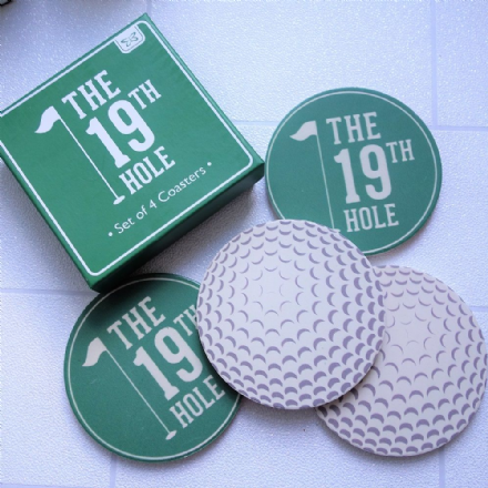 50% off 19th hole round golf coasters